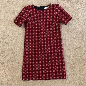 LOFT Textured Printed Knit Shift Dress